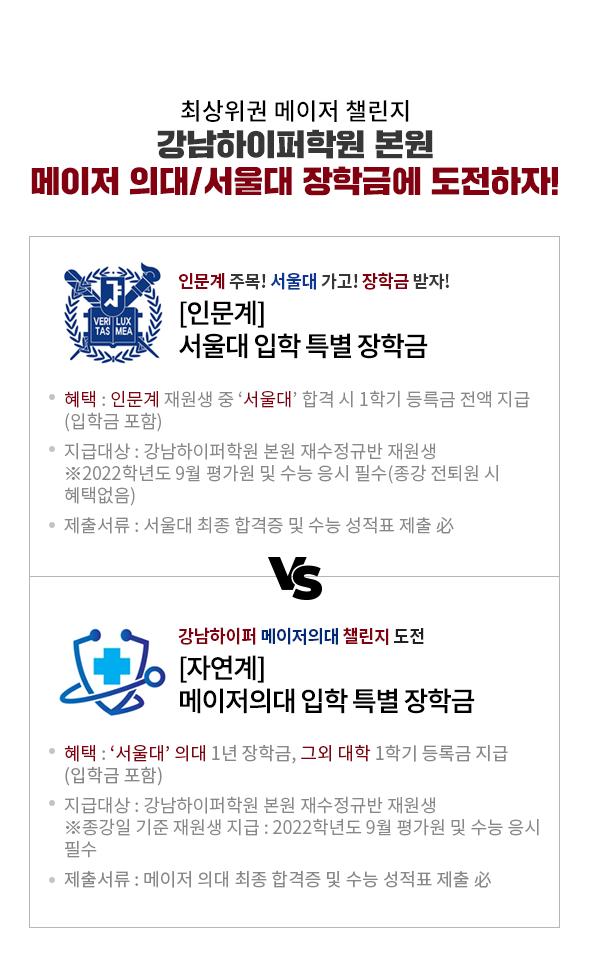 강남하이퍼학원 본원 메이저 의대/서울대 장학금에 도전하자!